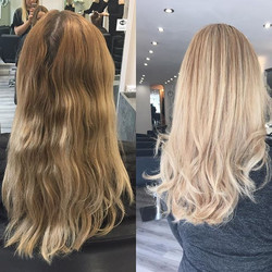 Louise came in with banding across her root area from a previous box dye she had done herself