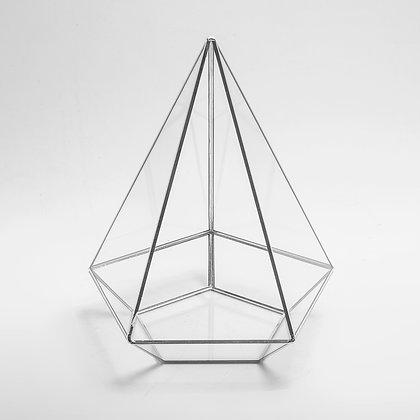 Gümüş Silver Geometrik Teraryum Prizma Cam Fanus 26cm x 21cm x 21cm