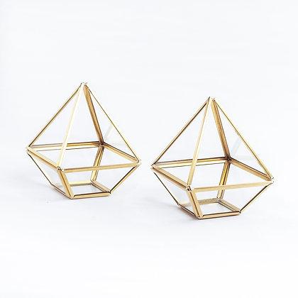 2 Adet Mini Gold Pirinç Brass Geometrik Prizma Teraryum Fanus Mumluk