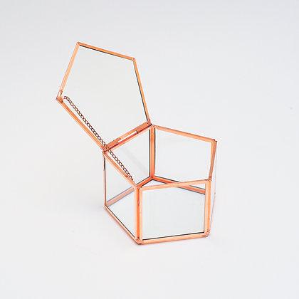 Bakır Rose Gold Geometrik Kapaklı Takı Aksesuar Yüzük Kutusu