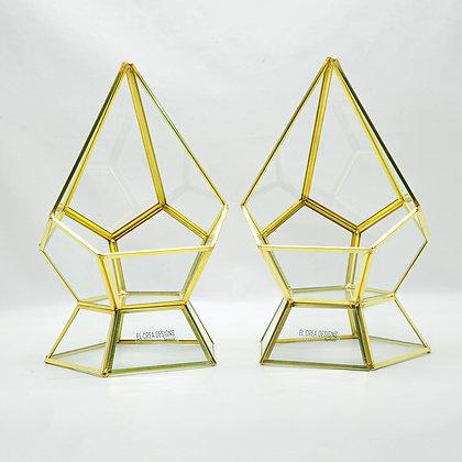 Gold Pirinç Brass Dekoratif Geometrik Teraryum Üçgen Prizma Cam Fanus 29x16x16cm