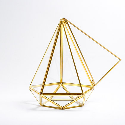 Gold Pirinç Brass Geometrik Prizma Teraryum Cam Fanus Kapaklı