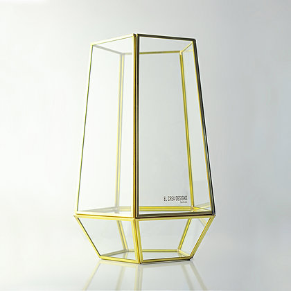 Gold Pirinç Brass Geometrik Teraryum Prizma Cam Vazo 30x26x26cm