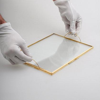 Söz Nişan Tepsisi Kapaklı Gold Ham Pirinç 30x20cm