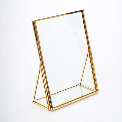 Masaüstü Fotoğraf Çerçevesi Nişan Masası İsimlik 20x15cm Ham Pirinç Gold