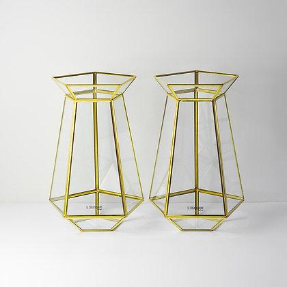 Gold Pirinç Brass Dekoratif Beşgen Geometrik Cam Prizma Vazolar