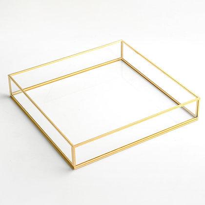 Gold Pirinç Brass Söz Nişan Sunum Kahve Tepsisi 28x28x6cm