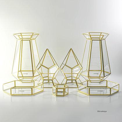 Gold Pirinç Brass Organizasyon Sunum Masası Prizma Seti Jardinyer Takımı