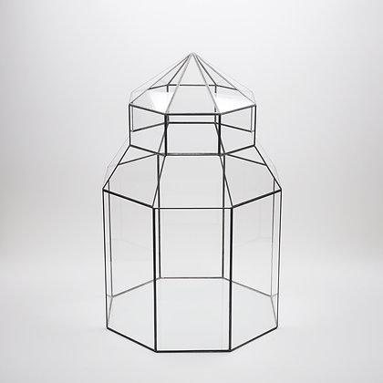 Siyah Antrasit 55 cm x 35 cm 35 cm Geometrik Teraryum Cam Fanus