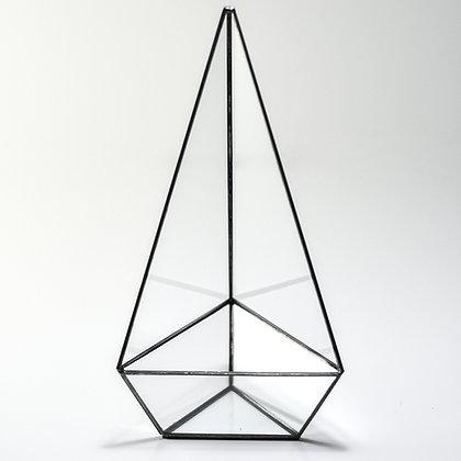 Siyah Antrasit Geometrik Teraryum Cam Fanus