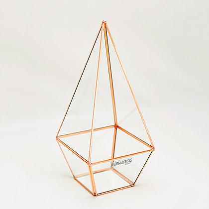 Bakır Rose Geometrik Teraryum Prizma Cam Fanus 26x12x12cm