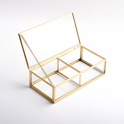 Gold Pirinç Brass 2 Bölmeli Cam Takı Aksesuar Makyaj Organizer Kutusu 20x10x6