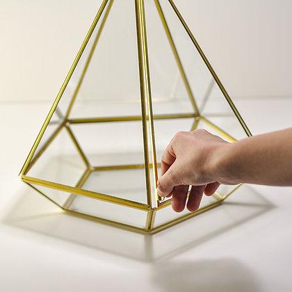 Gold Pirinç Brass Geometrik Teraryum Kapaklı Fanus 35x26x26cm