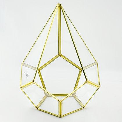 Gold Pirinç Brass Dekoratif Geometrik Teraryum Cam Fanus Rubby