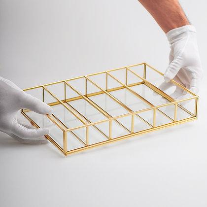 Takı Aksesuar Makyaj Kutusu Cam Organizer Kapaksız Pirinç Gold Brass 30x20x6cm
