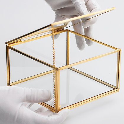 Gold Pirinç Brass Kapaklı Takı Aksesuar Çikolata Kutusu 15x15x8cm
