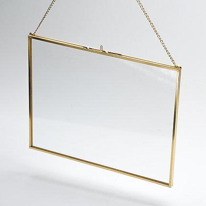 Fotoğraf Çerçevesi Duvar Askılı Yatay Gold Pirinç Brass 25x20cm