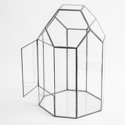 Siyah Antrasit Kapaklı Geometrik Teraryum Cam Fanus 33 cm x 20 cm x 20 cm