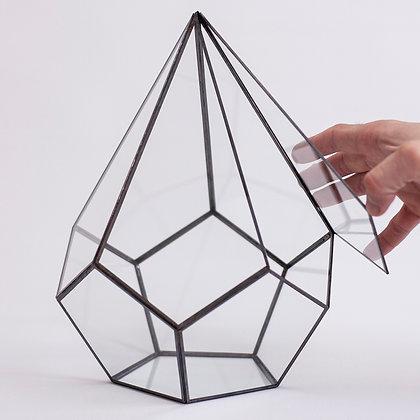 Kapaklı Fanus Geometrik Teraryum Cam  Siyah Antrasit 27x22x22cm