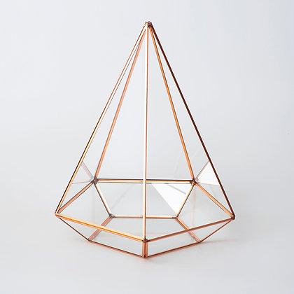 Bakır Rose Gold Geometrik Teraryum Cam Fanus 26x21x21cm