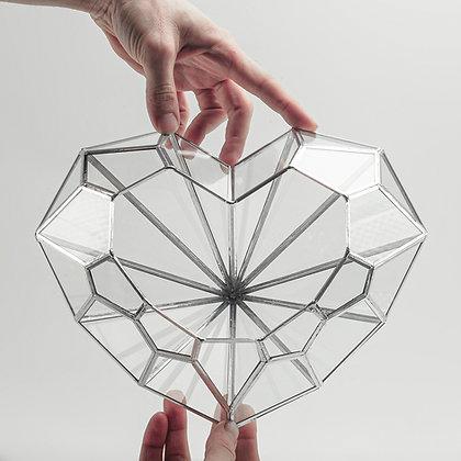 Gümüş Silver Geometrik Kalp Teraryum Cam Fanus