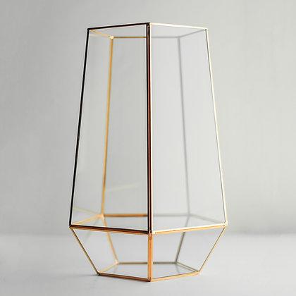 Vazo Bakır Rose Gold Geometrik Cam Teraryum Fanus Nişan Masası 31x19x18cm