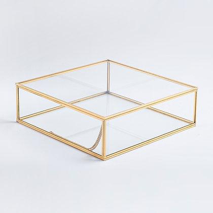 Gold Pirinç Brass Dekoratif Kapaklı Cam Takı, Makyaj, Aksesuar Kutusu 28x28x8cm