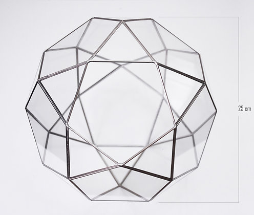 Gümüş Geometrik Teraryum Cam Fanus Hexagram 23x23x23cm