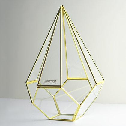 Gold Pirinç Brass Dekoratif Geometrik Teraryum Prizma Cam Fanus Epsilon 30x18x18