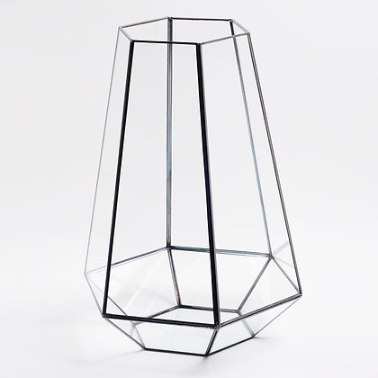 Siyah Antrasit Geometrik Prizma Teraryum Altıgen Cam Fanus 33 x 26 x 26 cm