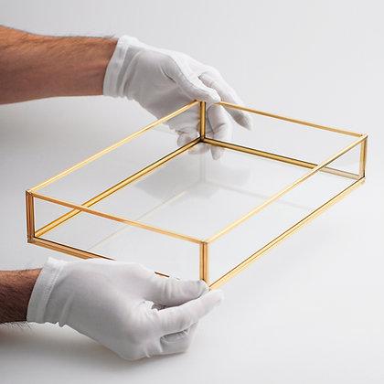 Nişan Tepsisi Sunum Kahve Söz Dekoratif Gold Pirinç Brass 30x20x6cm