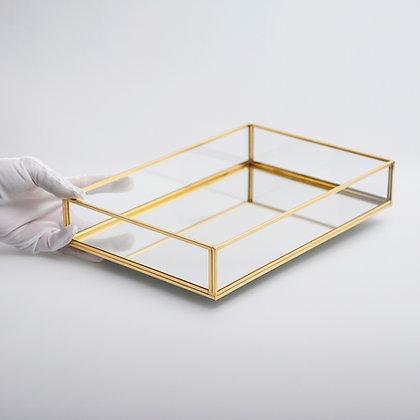 Tepsi Ayna Tabanlı Söz Nişan Sunum Masası Gold Pirinç Brass 30x20x6cm