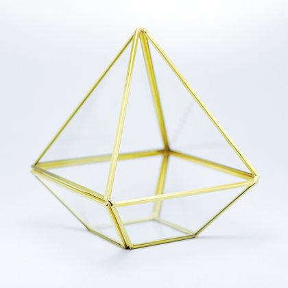 Gold Pirinç Brass Geometrik Prizma Fanus Nişan Masası Organizasyon Sunum Masası