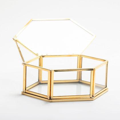 Gold Pirinç Brass Takı Aksesuar Yüzük Kutusu 15x9x6cm