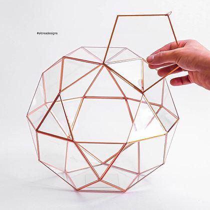 Bakır Rose Geometrik  Teraryum Prizma Cam Fanus Kapaklı
