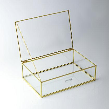 Gold Pirinç Brass Kapaklı Takı Aksesuar Çikolata Kutusu 30x20x8cm