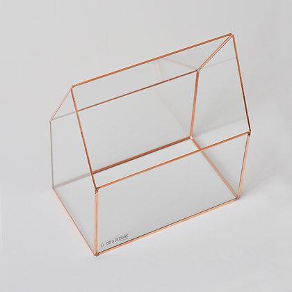 Geometrik Teraryum Prizma Cam Fanus Bakır (rose) 26x20x12cm