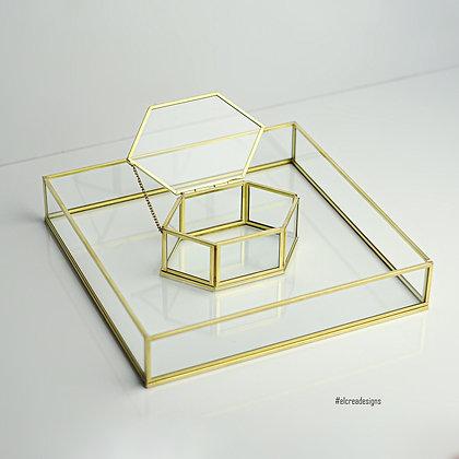 Gold Pirinç Brass Yüzük Kutusu Ve Dekoratif tepsi