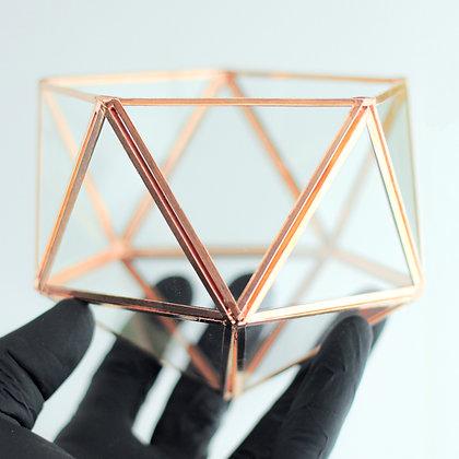 Bakır Rose Geometrik  Teraryum Prizma Cam Yüzük Kutusu