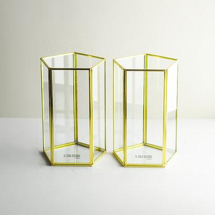 Gold Pirinç Brass Beşgen Dekoratif Geometrik Cam Vazo (2 Adet) 23x12x12cm