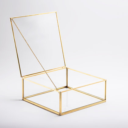 Gold Pirinç Brass Kapaklı Cam Takı Aksesuar Çikolata Söz Mendil Kutusu 22x22x8cm