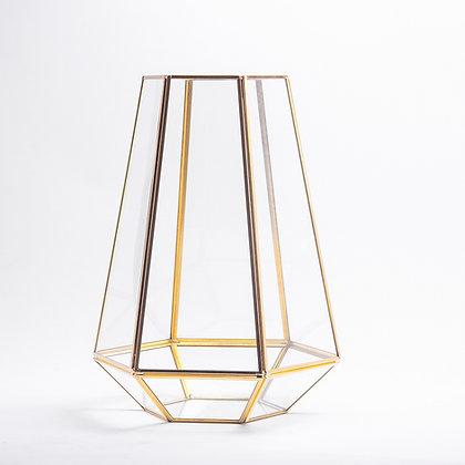 Gold Pirinç Brass Geometrik Teraryum Cam Fanus Vazo