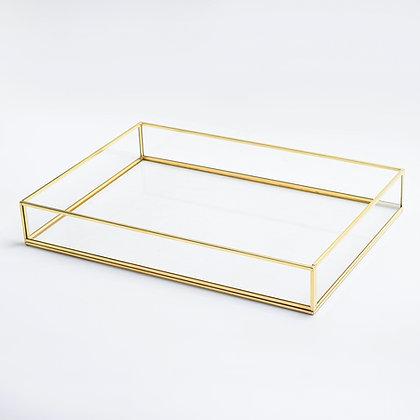 Gold Pirinç Brass Söz Nişan Tepsisi 35x25x6cm