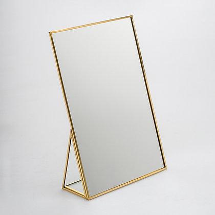 Makyaj Aynası Masaüstü Ham Pirinç Gold 30x20cm