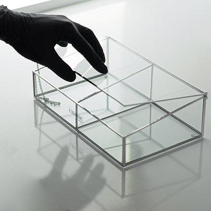 Gümüş Renk Cam Bölmeli Kapaklı Takı, Mücevherat, Makyaj Kutusu 25x15x7-5cm