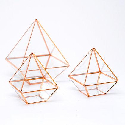 3 Adet Bakır Rose Gold Geometrik Teraryum Cam Fanus