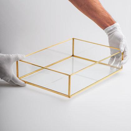 Nişan Tepsisi Damat Kahvesi Sunum Tepsisi Gold Pirinç Brass 35x25x8cm