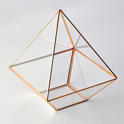 Bakır Rose Geometrik  Teraryum Prizma Cam Fanus