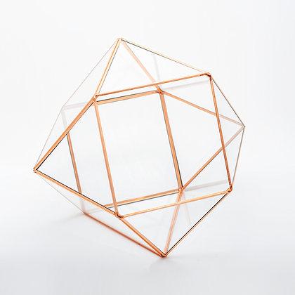 Bakır Rose Gold Geometrik Teraryum Cam Fanus