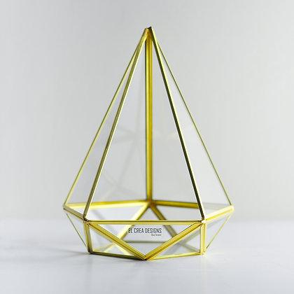 Gold Pirinç Brass Geometrik Teraryum Prizma Cam Fanus Diamond 27x21x21